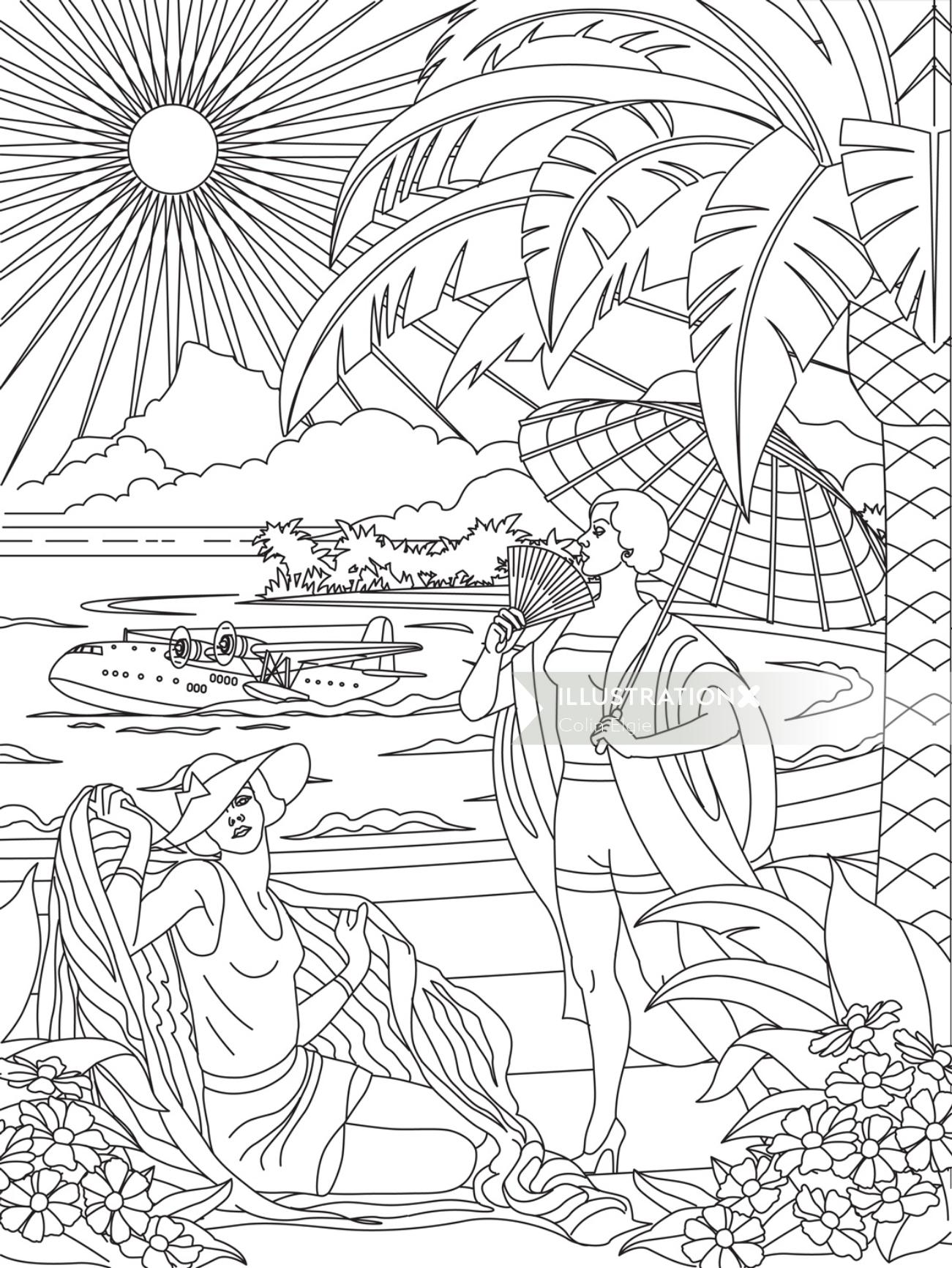 Line drawing of beach scene