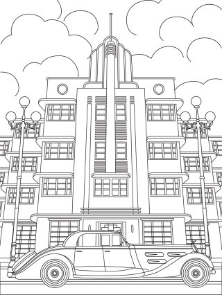 Line drawing of Deco building and car