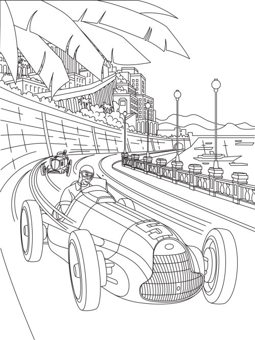 Line art of car race