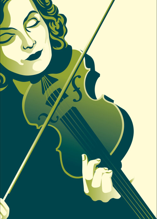 Dame jouant du violon illustration