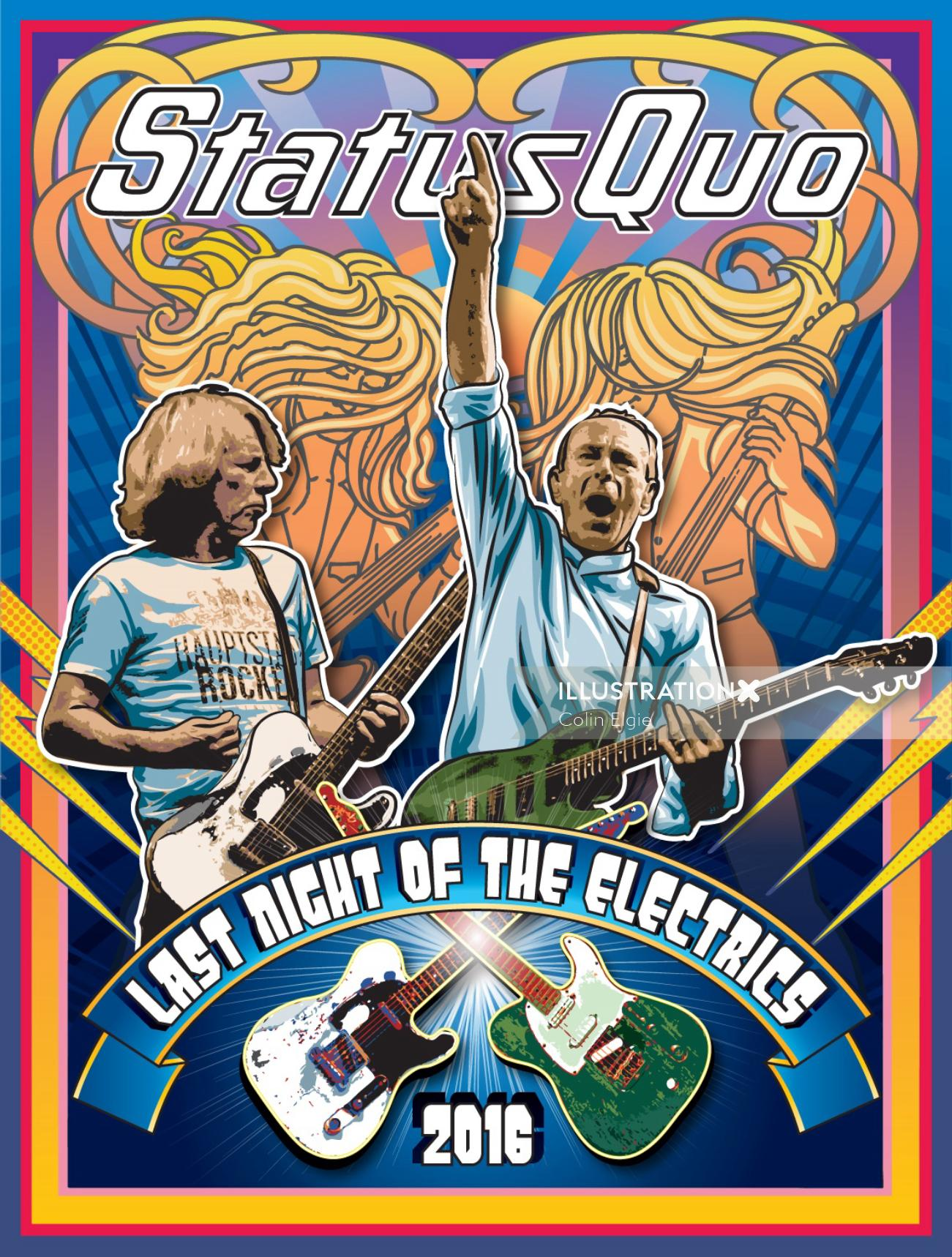 Illustration of Design for a status Quo tour poster