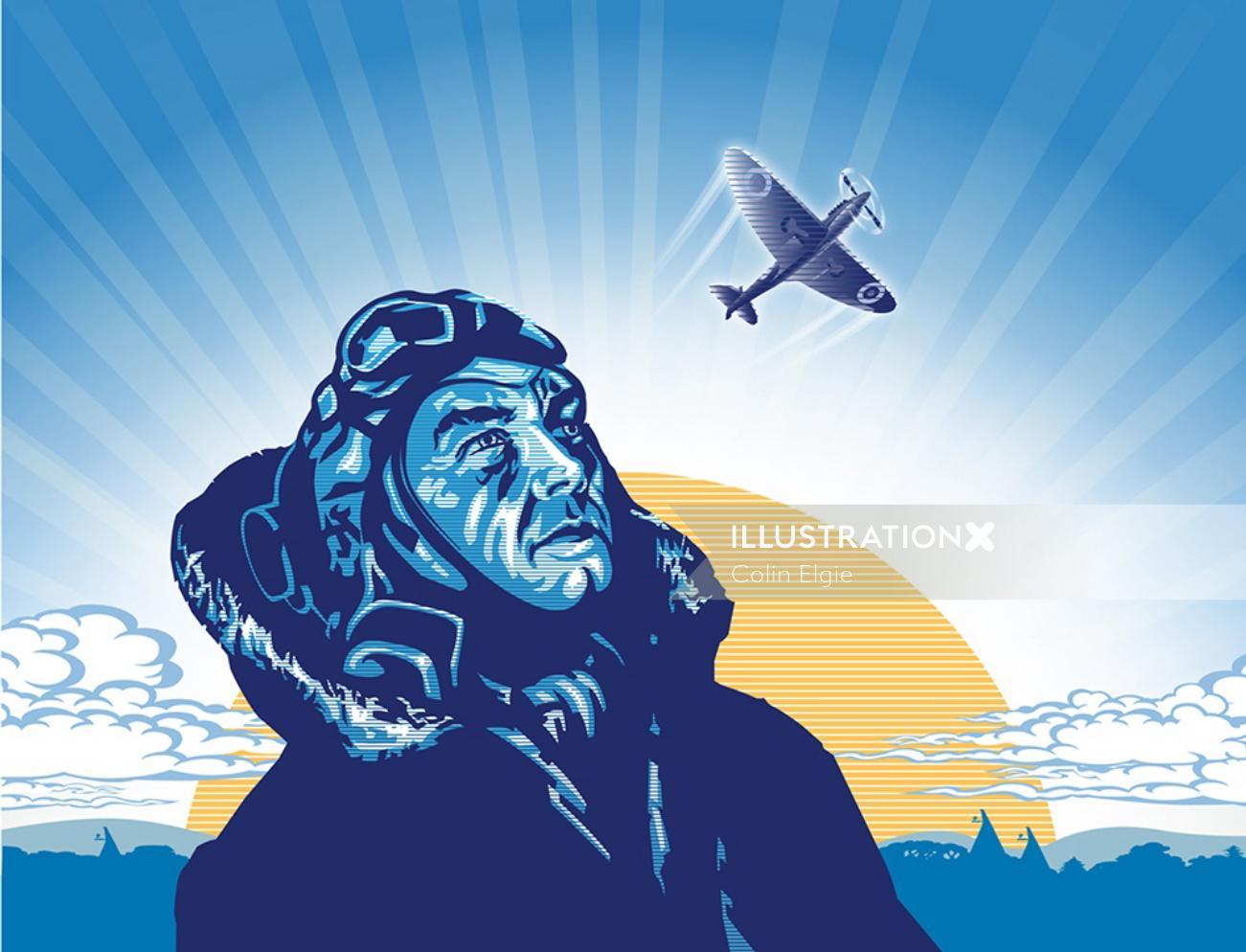 Graphic illustration pilot watching plane