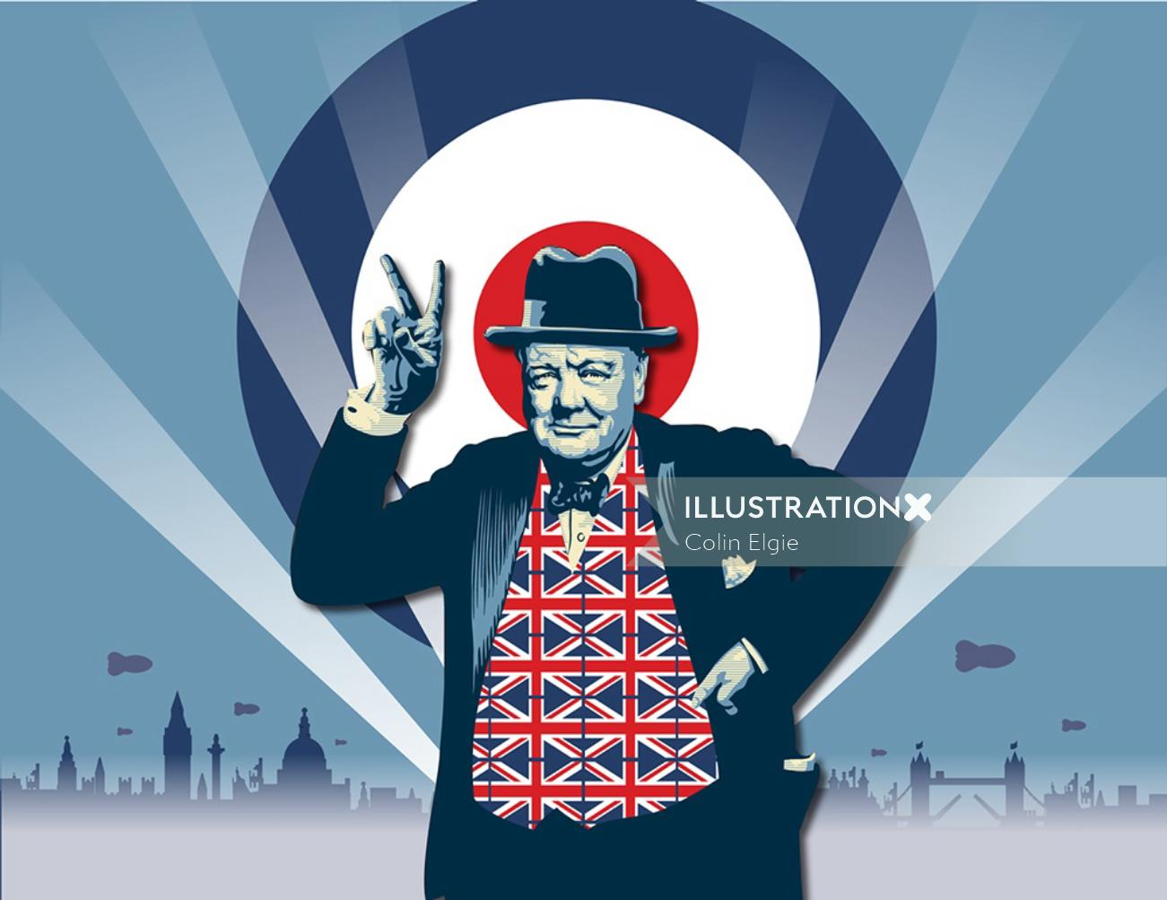 Graphic of man in British dress with victory symbol