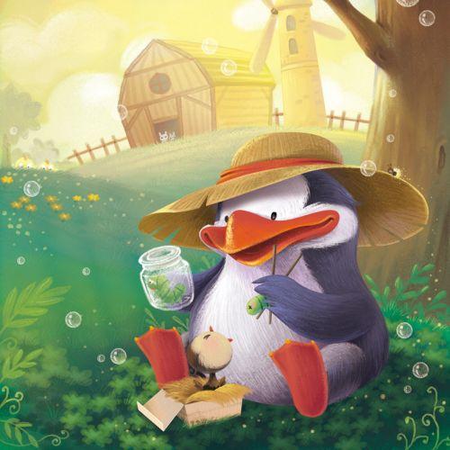 Duck With Baby Penguin Children's Illustration