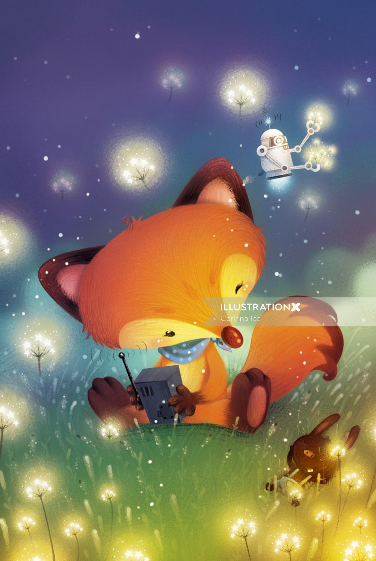 Cartoon fox listening radio