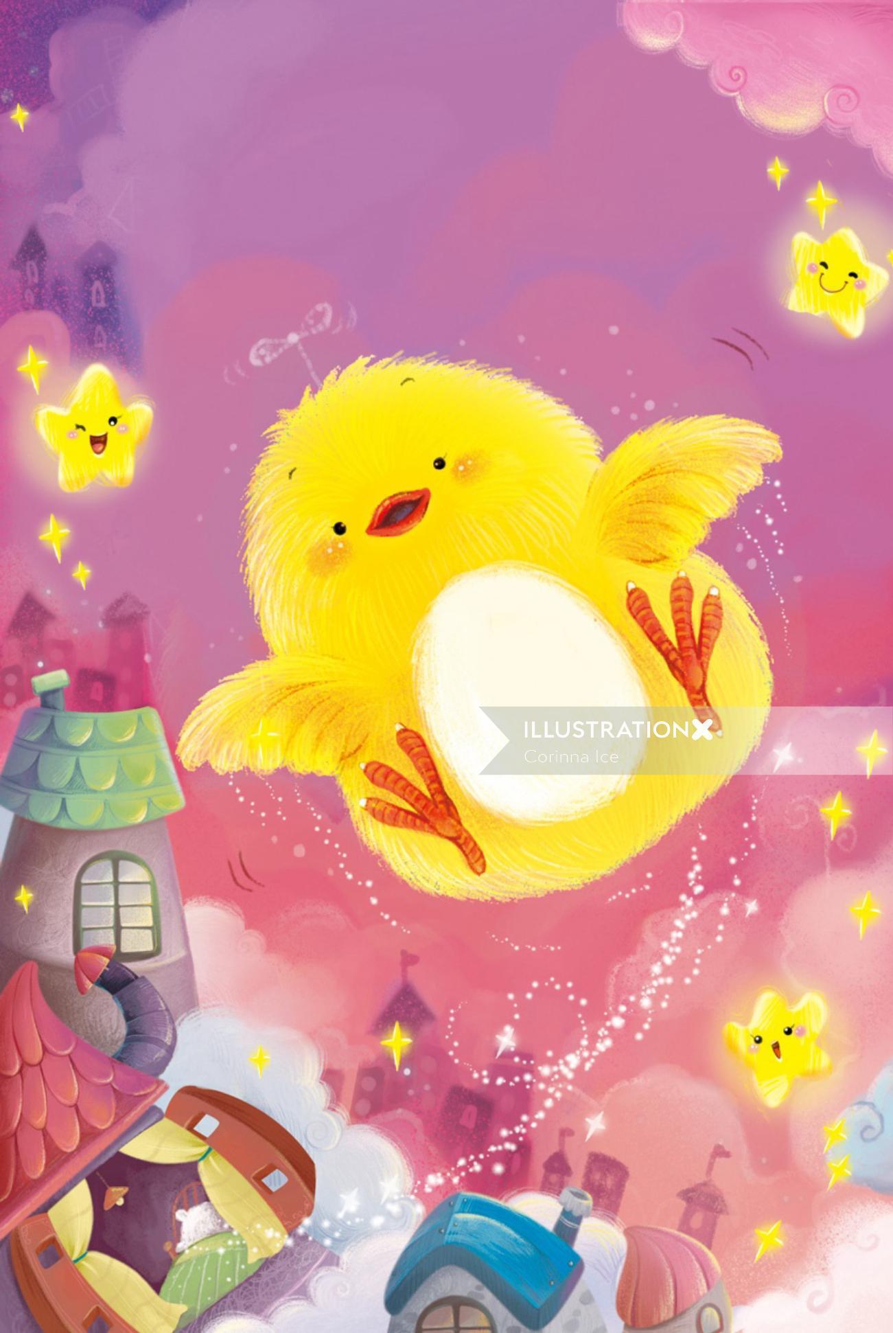 Bird dreaming watercolor painting