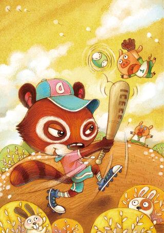 Cartoon animals playing baseball