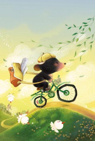 Cartoon character of mailer rat riding bicycle