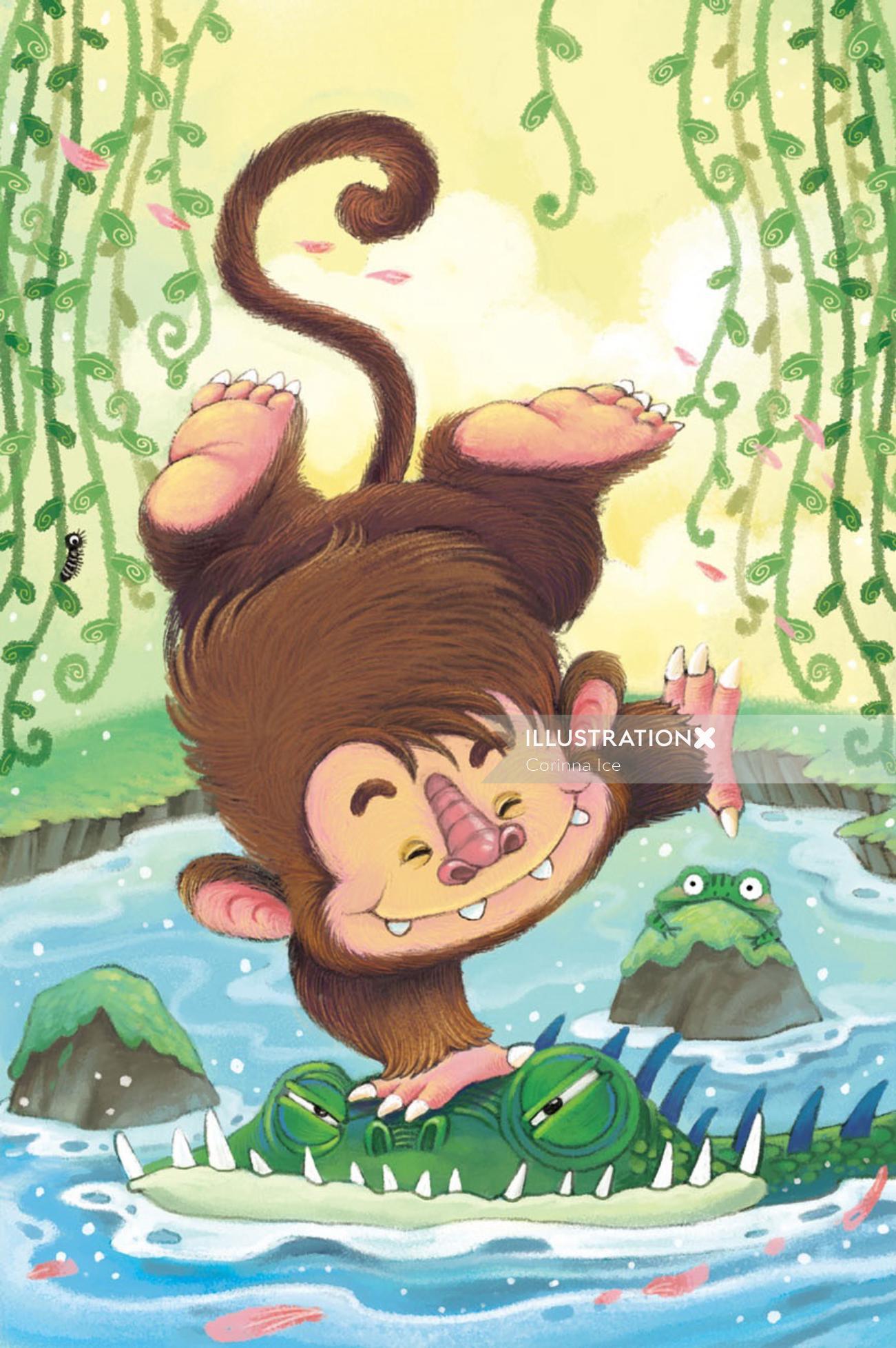 cartoon monkey and crocodile