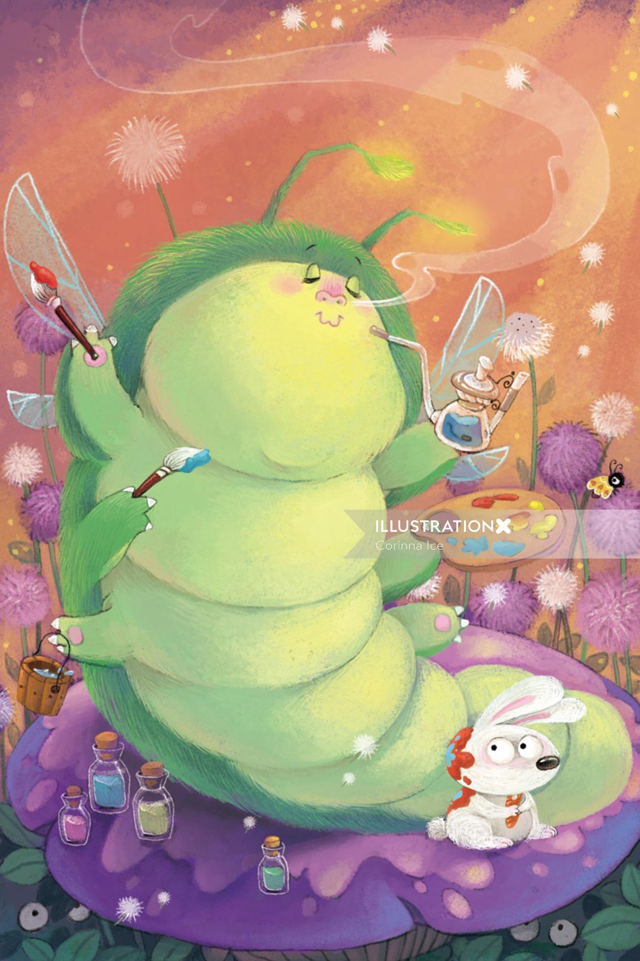Cartoon illustration of painting animal