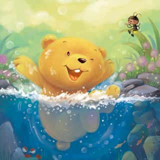 Cartoon illustration of bear swimming