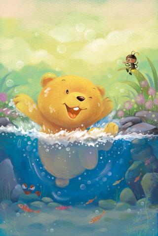 Cartoon illustration of bear swimming