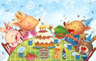 cartoony animals celebrating the birthday party