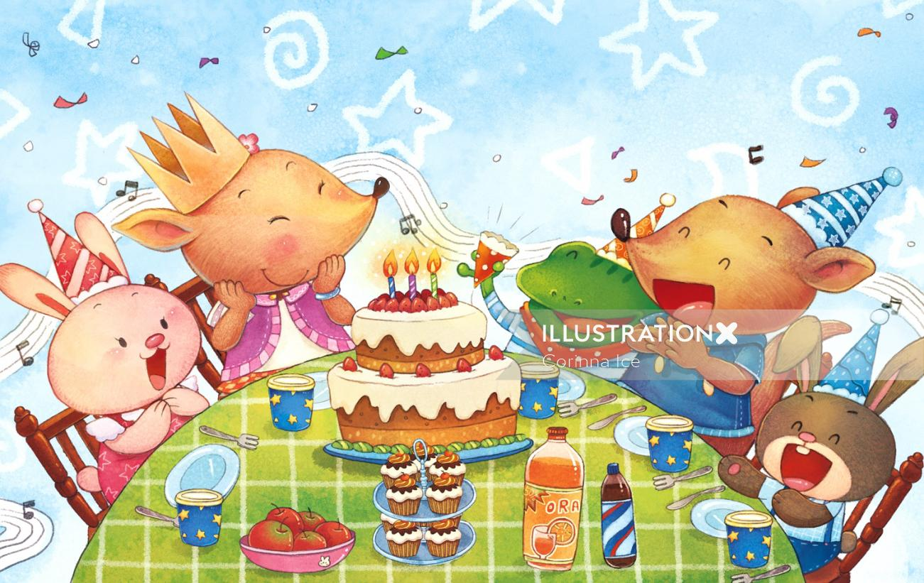 cartoony animals celebrating the birthday party
