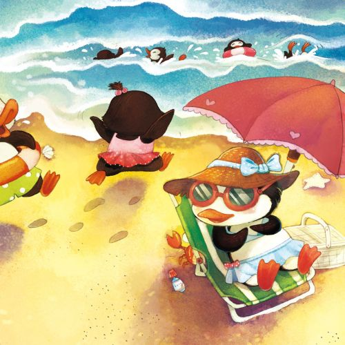 Cartoon Illustration Of Ducks On The Beach