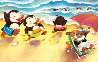 Cartoon Illustration Of Ducks On The Beach