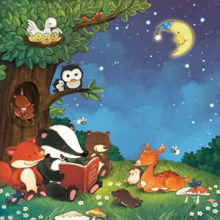 Forest animals listen as bear reads the story before bedtime
