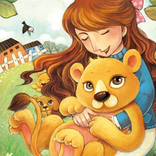 Children's illustration of a girl with cute lions