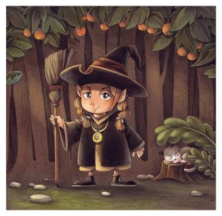 Cartoon illustration of little wizard