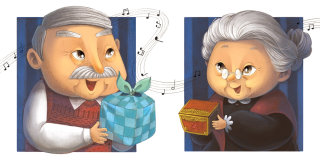 An illustration of senior couple with gift boxes