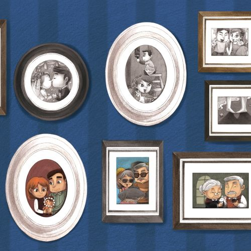 An illustration of couple frames on wall