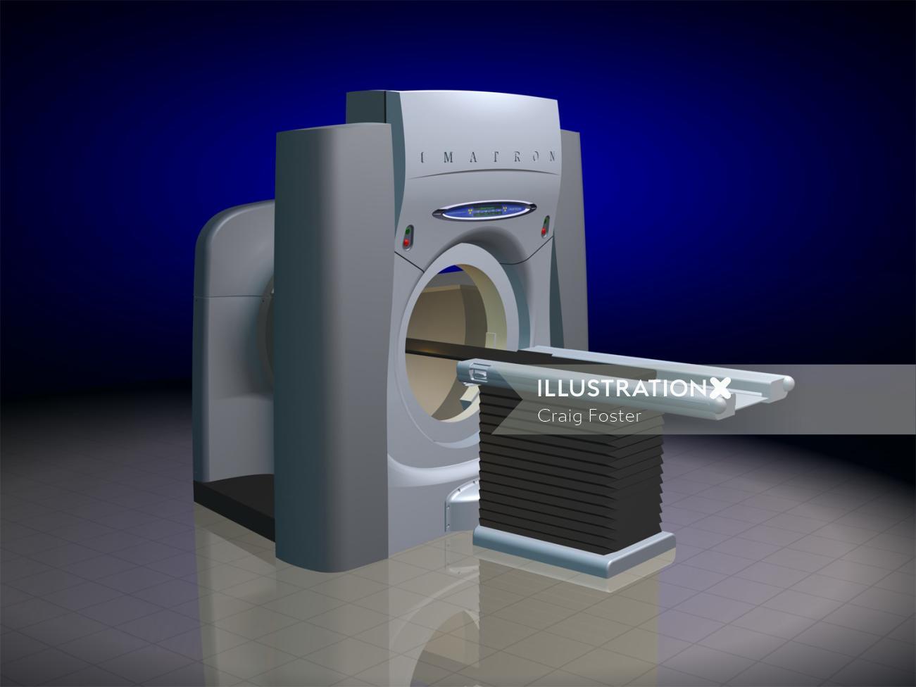 An illustration of CT Scanner machine