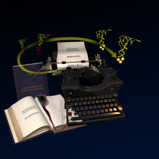 An illustration of typewriter cover blue hr