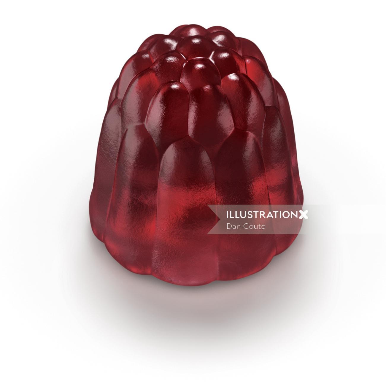 Raspberry flavor gummies candy
