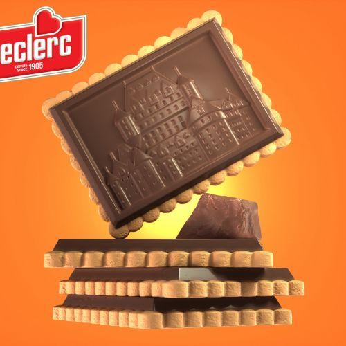 Leclerc Milk Chocolate Biscuits advertising illustration