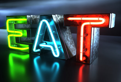 CGI EAT Neon Sign illustration by Dan Couto