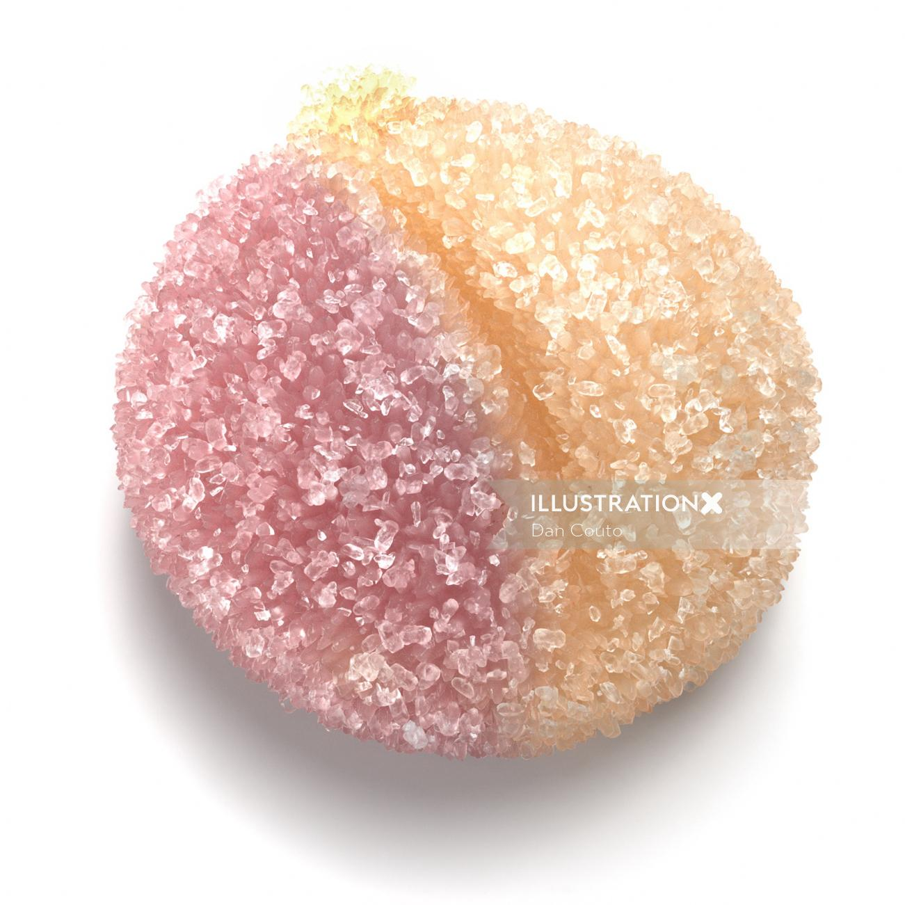 Naturalistic of Sour peach candy