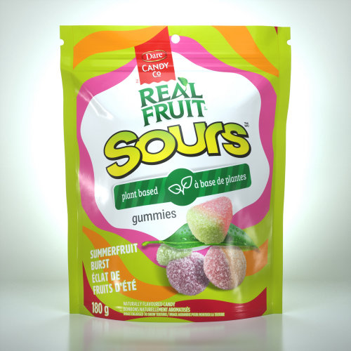 Dare Candy Co Real fruit gummies packaging illustration