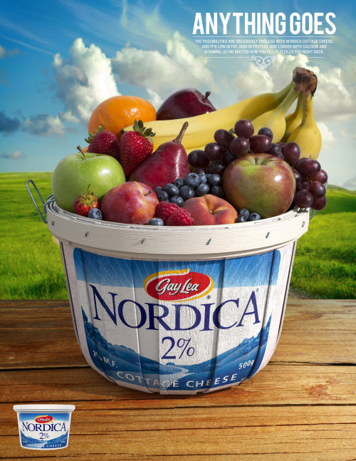 Packaging illustration of Gay Lea Nordica 2% Cottage Cheese