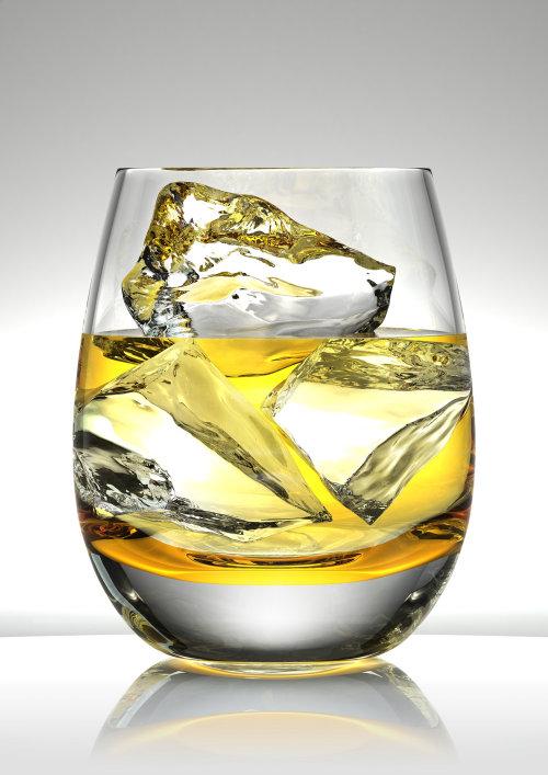 3D illustration of Whiskey glass