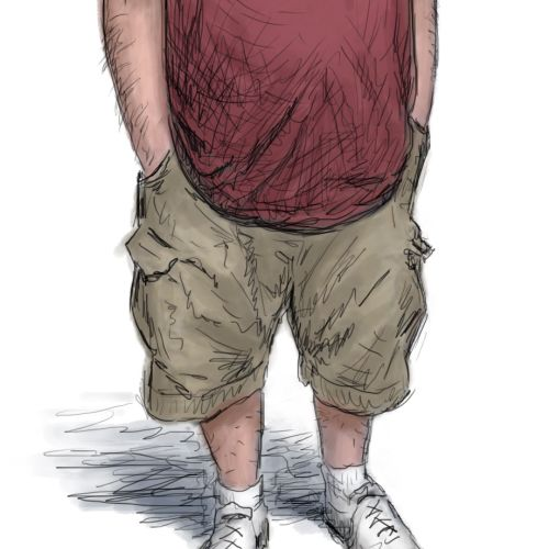 Fatty Lazy man in bermudas