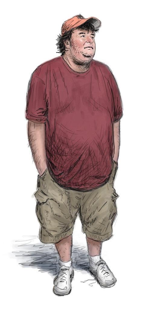 Fatty Lazy man in bermudas