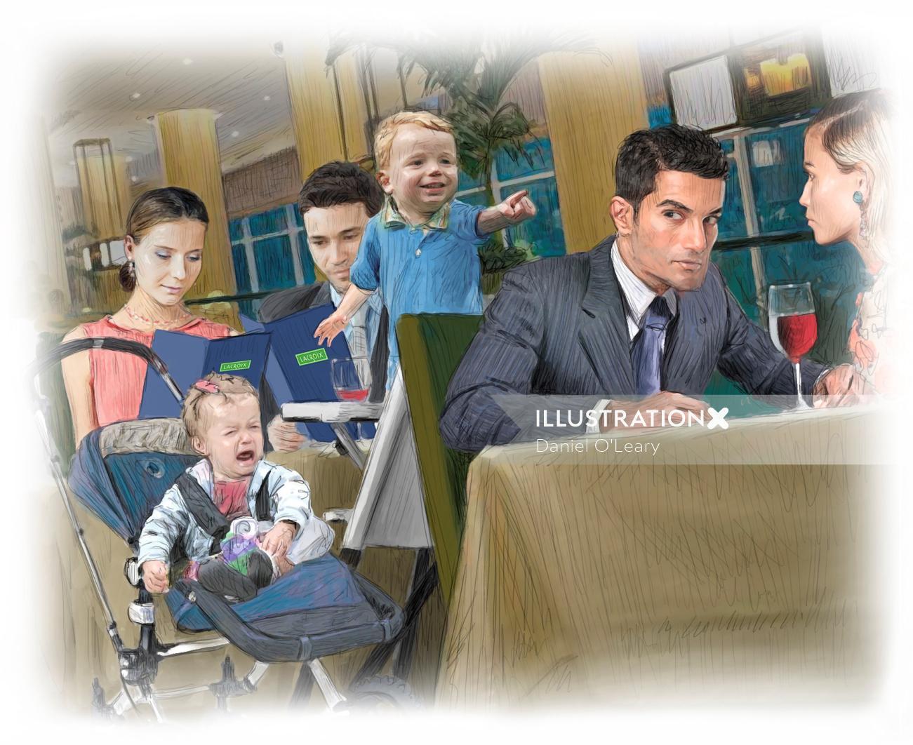 Loud kids at restaurant graphic