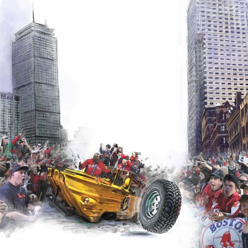 Satirical humour Boston Red Sox, Parade,fans,