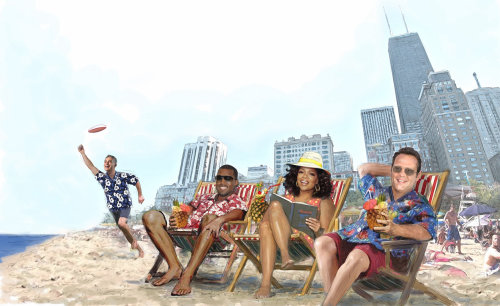 Chicago,Oprah, Kanye West, Vince Vaughn, Rahm Emanuel, beach, city architecture, summer
