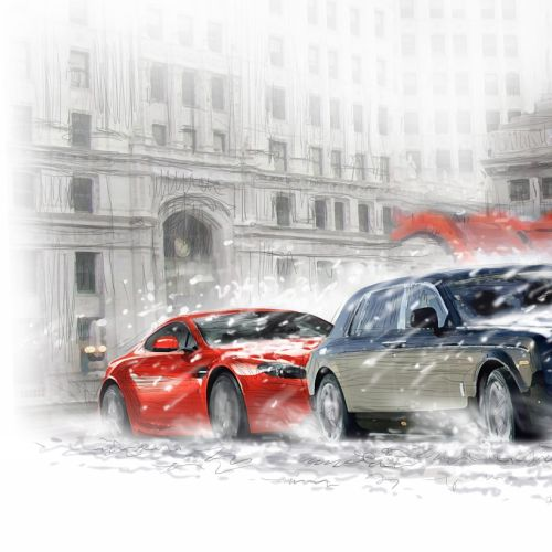 Cars in chicago strucked in snow