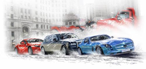 Autos en chicago estallaron en la nieve