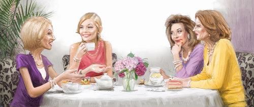 Chicago ladies gossip at lunch