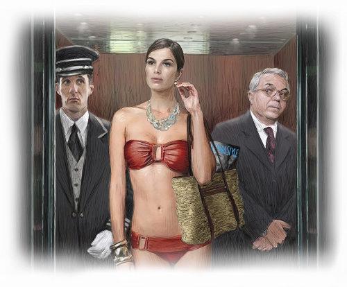 Swimsuit model in elevator