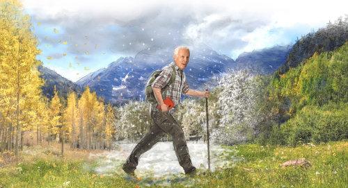 Hombre senderismo montañas de colarado