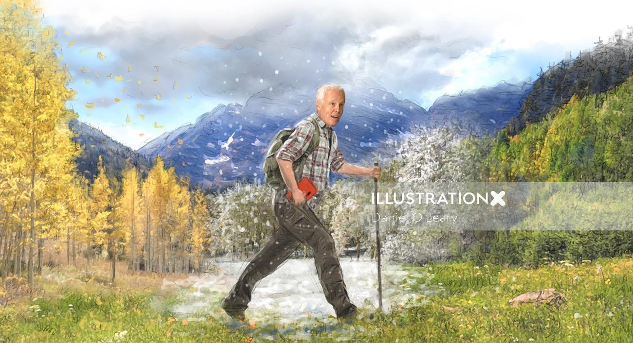 Man hiking colarado mountains