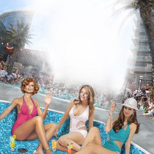 Fashion Models in Vegas Pool