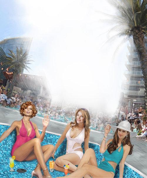 Modelos de moda en Vegas Pool