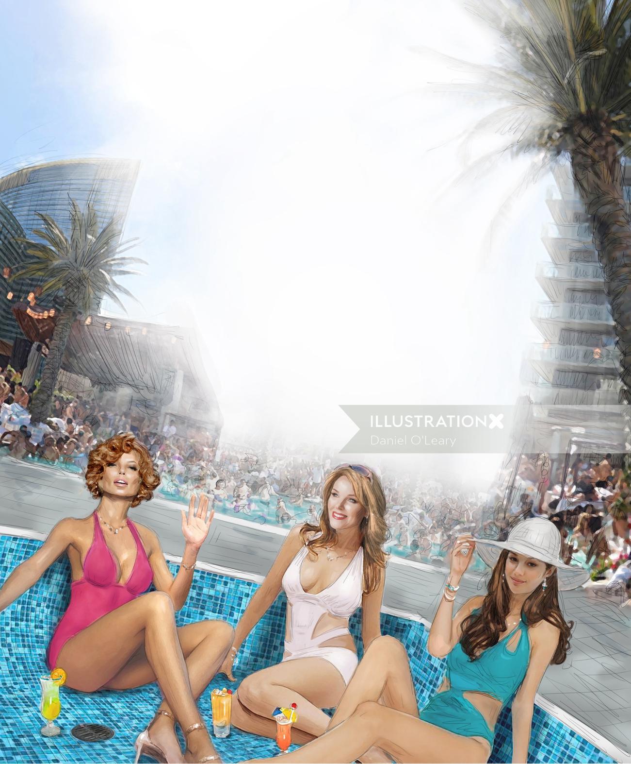 Fashion Models in Vegas Pool
