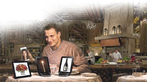 Hombre con aplicaciones de citas en línea