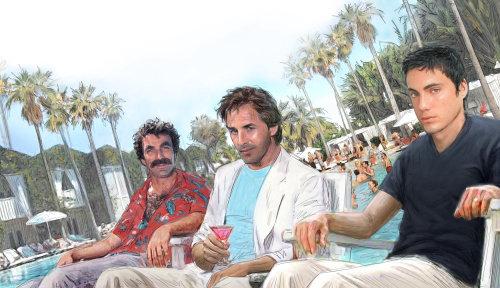 Celebridades en la piscina del resort